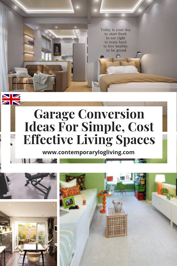 Garage Conversion Ideas For Simple Cost Effective Living Spaces. Most garage conversions in the UK come under Permitted Development if you do not extend the original size. Easily convert your garage space into a teenage den, granny flat, home office, home gym or media room for a lot less than you would expect to pay for an extension. #garageconversionideas #garageconversionsUK #bestgarageconversionideas #grannyflat #grannyannex