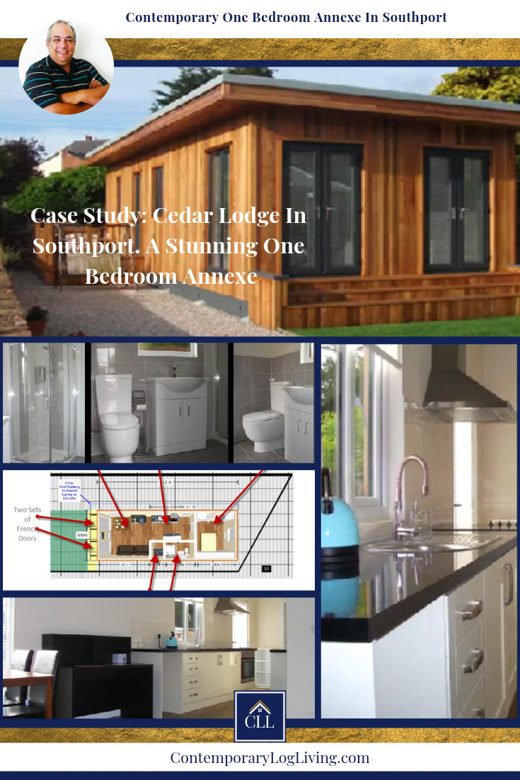 Case study of one of our most popular one bedroom annexes in Southport. Cedar Lodge is a custom Signature One Bedroom Annexe with a great one bedroom annexe floor plan designed by our customer for their daughter. It's an investment that will continue to repay itself over time. With a galley style kitchen, half-tiled bathroom, open plan living area it's a swish apartment style one bedroom annexe in the back garden. #grannyannexe #grannyannex #grannyannexeplanningpermission #grannyannexefloorplan