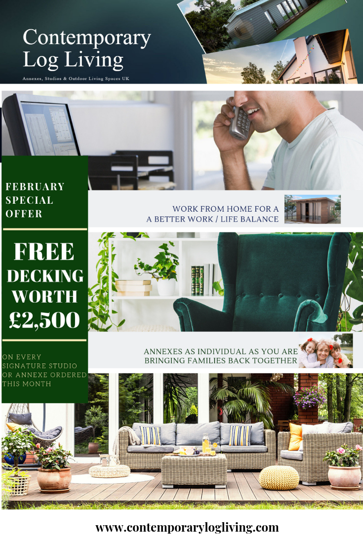 ***FEBRUARY SPECIAL OFFER*** Free decking (worth £2,500) with every SIGNATURE STUDIO or SIGNATURE ANNEXE order placed this month! Complete the look of your new Signature Studio or Annexe this month with our free decking offer. We offer bespoke garden studios and annexes for either temporary guest accommodation, home offices & studios or annexes for residential living #gardenstudio #gardenoffice #workfromhome #videostudio #selfbuildUK #granddesigns #grannyannex #gardenstudios #extensionsUK