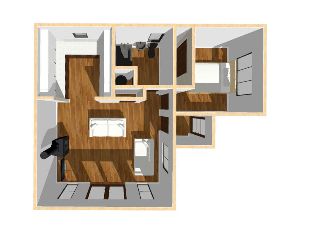 """L-shaped annexe floor plan"""