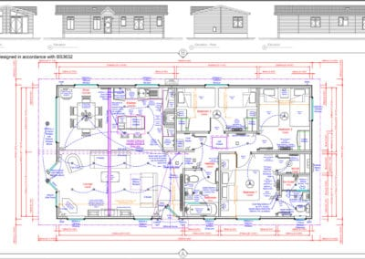 ' 3 Bedroom Floor Plan and Elevations
