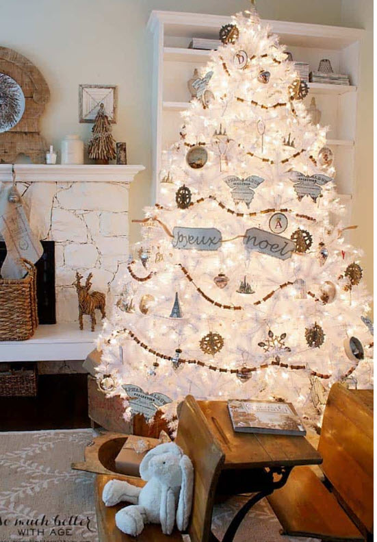 """""""white Christmas tree decor ideas"""""""